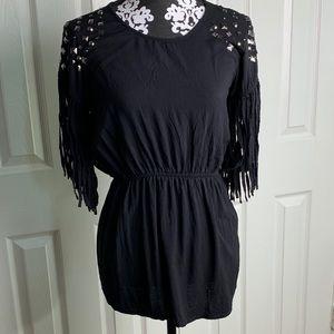 Ariat black studded tunic Fringe blouse top
